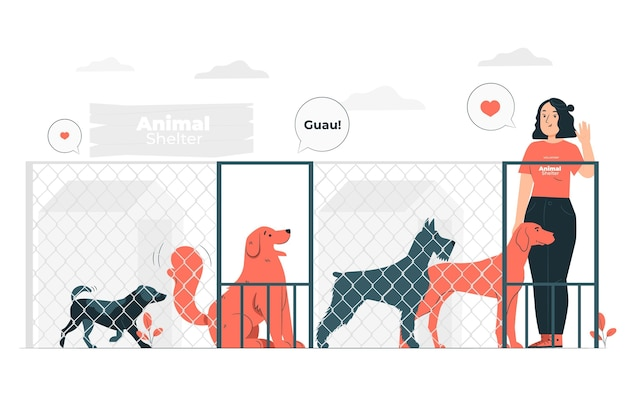 Animal shelter concept illustration