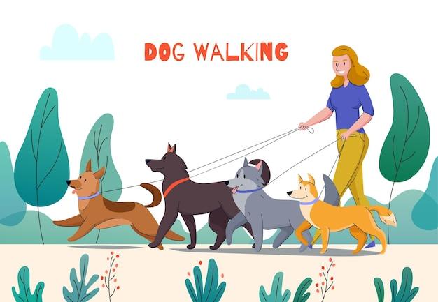 編集可能なテキストと4匹の犬のイラストと屋外公園の風景の女性と動物保護犬の歩行構成