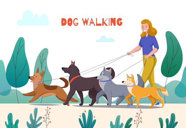 Animal shelter dog walking composition with editable text and outdoor park landscape woman with four dogs  illustration