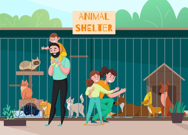 ケージのイラストの前に子供と親の屋外の風景のキャラクターと動物保護施設の家族構成
