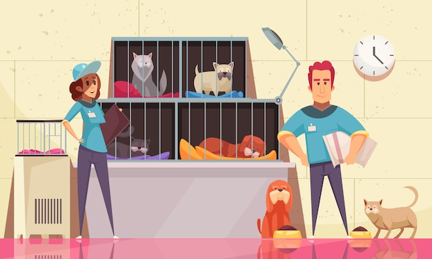 Animal shelter horizontal illustration with pets sitting in cages and volunteers feeding animals flat