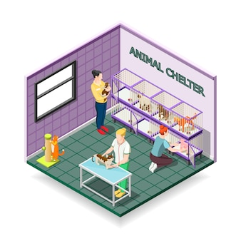 Animal shelter isometric composition
