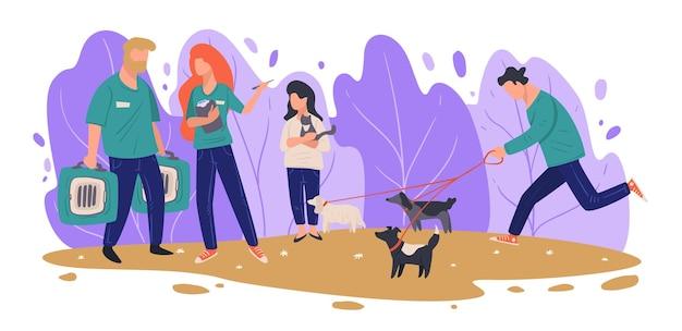 Работники приюта для животных дают коробки для перевозки домашних животных, девочка обнимает котенка