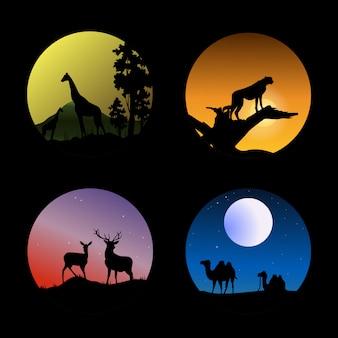 Animal silhouettes set