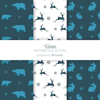 Animal silhouettes winter pattern collection