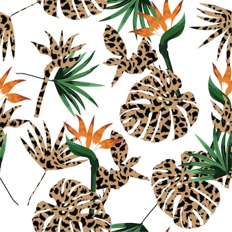 Animal skin leopard fill-in with tropical jungle  pattern