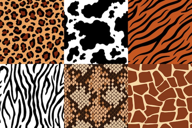 Animal skins pattern. leopard leather, fabric zebra and tiger skin. safari giraffe, cow print and snake seamless patterns  set