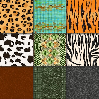 Animal skins vector pattern seamless animalistic skinny textured backdrop of wild skinning natural fur illustration wildlife space set