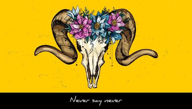 動物の頭蓋骨と花の花輪のデザイン。手描きのベクトル図