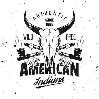 Animal skull and crossed smoking pipes vector indian emblem, label, badge or logo in vintage monochrome style isolated on background with removable grunge textures