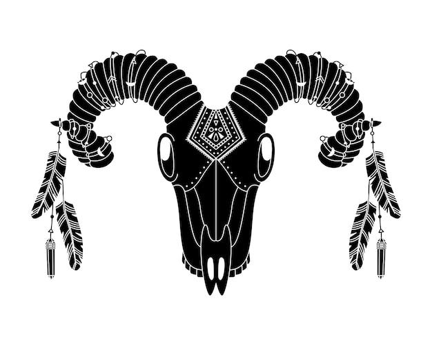 幾何学的な装飾と鳥の羽を持つ自由奔放に生きるスタイルの動物の頭蓋骨。シンプルなスタイルの部族のイラスト。