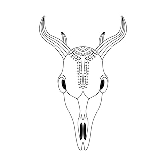 幾何学的な装飾が施された自由奔放に生きるスタイルの動物の頭蓋骨。部族の概要図。