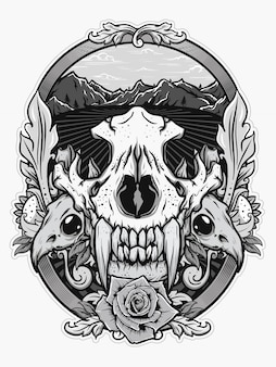 Animal skull for shirt design in black white concept