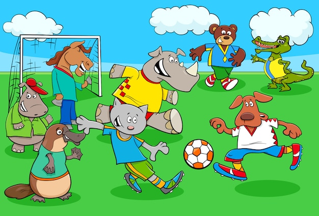 Animal soccer player characters playing match