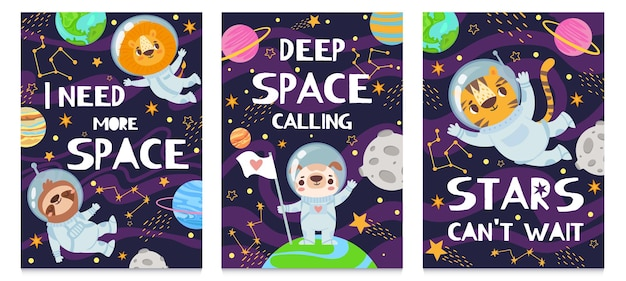 Animal in space card set
