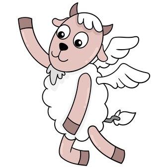 動物の精霊羊は翼、ベクトルイラストアートで天国に飛ぶ。落書きアイコン画像カワイイ。