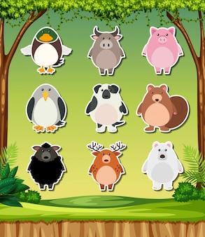 Animal sticker on nature background