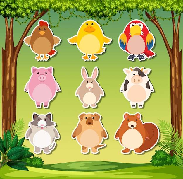 Animal sticker on nature background