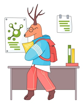 Animal student. a deer schoolboy with exercise book in hands in chemistry class
