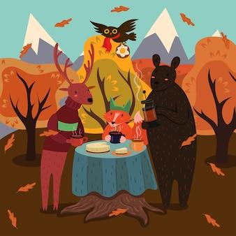 Чаепитие животных в осеннем лесу.
