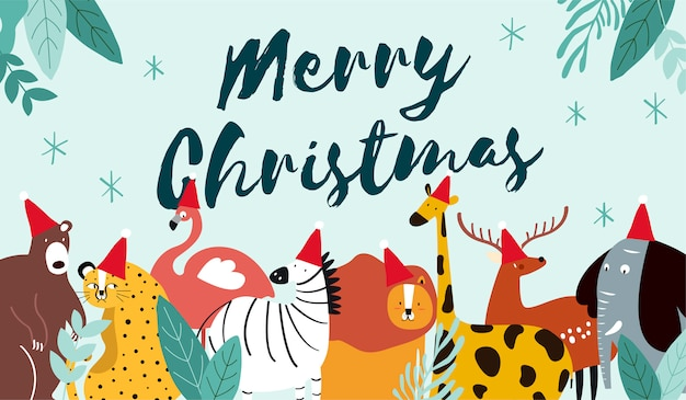 Animal theme merry christmas card vector