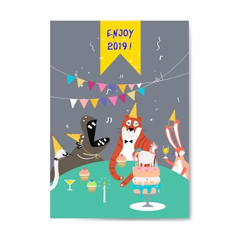 Animal themed greeting card vector