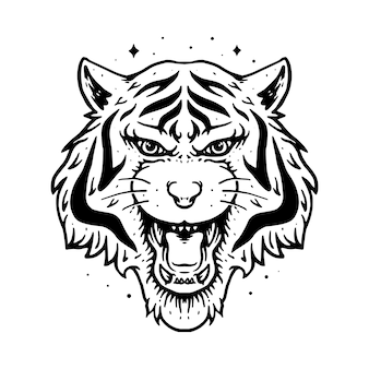 Animal tiger line graphic illustration vector art t-shirt design