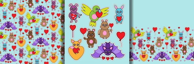 Animal toys with heart print seamless pattern and border set
