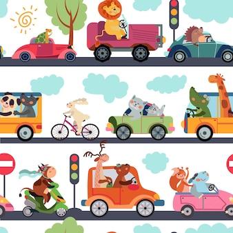 動物の輸送パターン。交通機関、面白い都市動物園の交通。子供の生地はかわいい漫画の車のベクトルのシームレスなテクスチャを印刷します。パターン動物園の交通機関、キツネとライオンのキャラクターの愛らしいイラスト