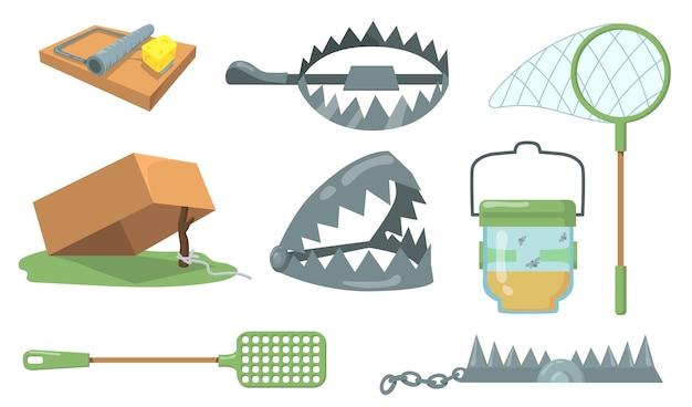 Set di trappole per animali. trappola per topi, trappola per orsi in metallo, retino per farfalle isolato. fumetto illustrazione vettoriale per la caccia, la cattura di animali, il concetto di crudeltà