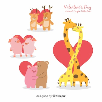 Animal valentine couple set