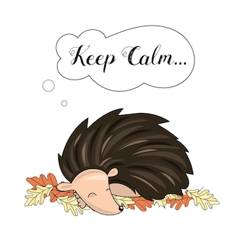 Animal vector illustration set sleeping hedgehog