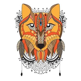 Животный векторный портрет - лиса в стиле зентангл