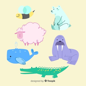 Animal wildlife collection in children's style