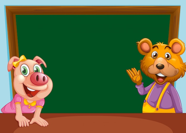 Animal with chalkboard banner