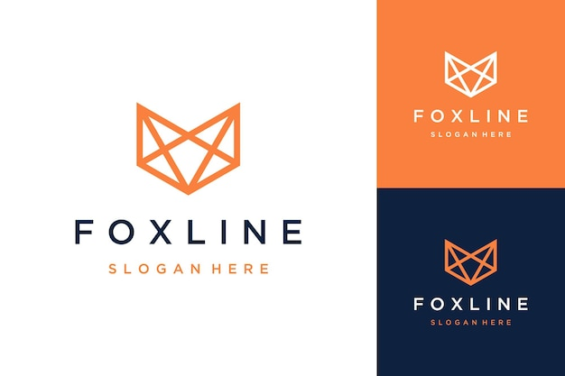 Animal or wolf design logo with line style art