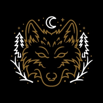 Animal wolf night line graphic illustration vector art t-shirt design