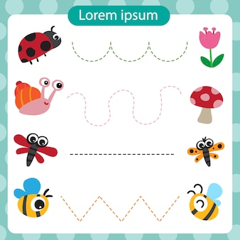 Animal worksheet vector design