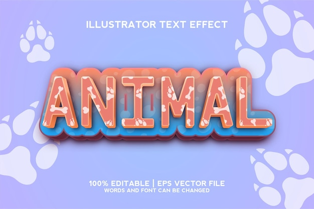 Шаблон текстового эффекта животного мира с редактируемым эффектом шрифта в стиле 3d