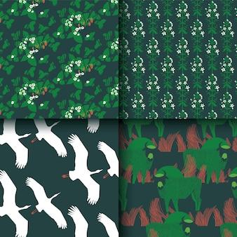 緑、白、赤のパターンの動物的で花のコレクション