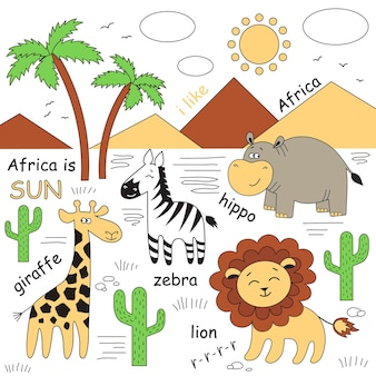 Animals of africa. giraffe,hippo, lion, zebra and other vector elements