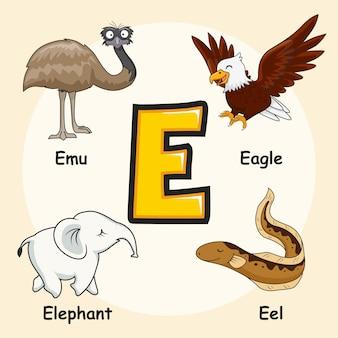 Animals alphabet letter e