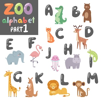 Animals alphabet symbols, wildlife animals font alphabet.