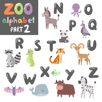 Animals alphabet symbols and wildlife animals font alphabet