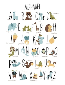 Animals alphabet vector print with letters and animal illustrations trendy boho style
