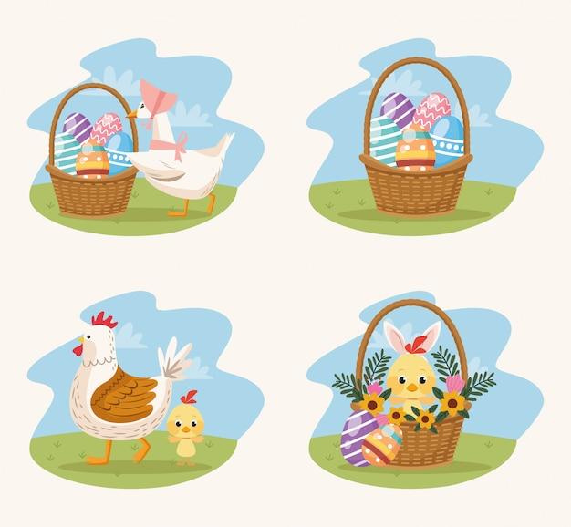 Нарисованные сцены с животными и яйцами