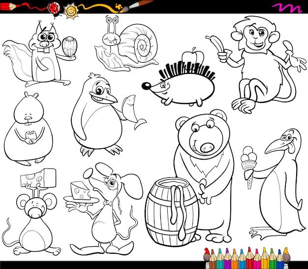 Животные и страница раскраски пищи