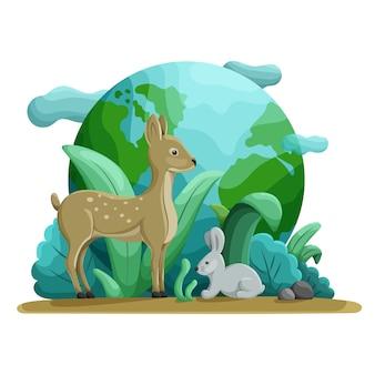 Животные и природа. всемирный день дикой природы, спасти землю, день земли, зеленый день концепции.