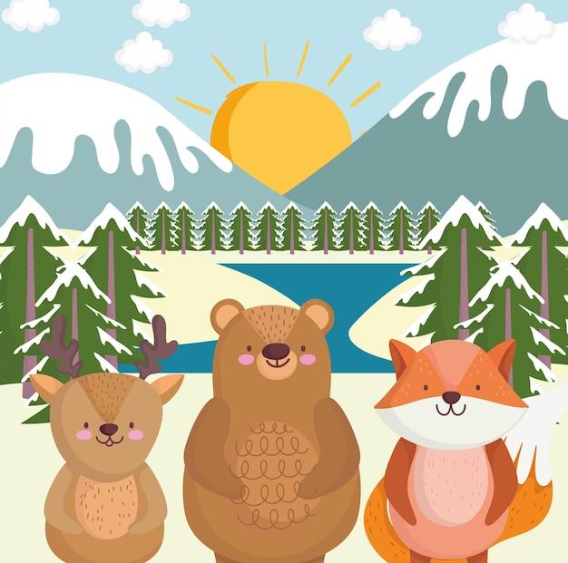 Животные и зимний пейзаж