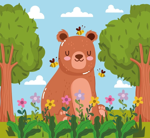 Animals bear bees flowers trees Premium Vector